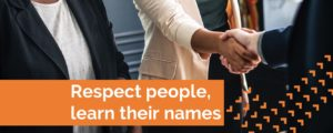 learn names to build trust in organisations